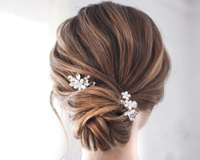 pearl crystal small bridal hair pieces, set of 2 and more wedding hair pin, bride hairpins, crystal hair clip bride wedding hair accessories