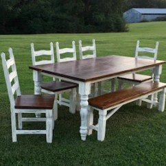 Table With Chairs Slipcovers For Parsons Dining Farmhouse And Etsy Bench Rustic Turned Legs Custom Solid Wood Handmade Accent Furniture