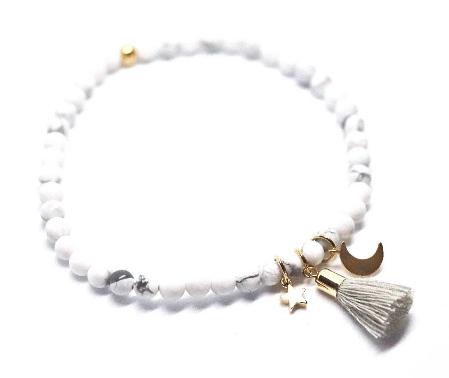 Star and moon howlite beaded bracelet with grey tassel