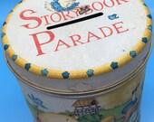 Mother Goose Storybook Parade - Vintage Tin Bank - 1970's