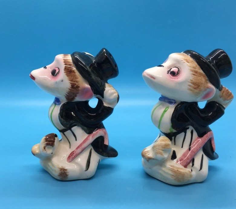 1950s Anthropomorphic Monkey with Top Hat and Tails Vintage Salt & Pepper Shakers