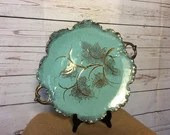 Turquoise and Gold large Mid Century Ceramic Platter Beautiful