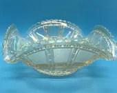 Iridescent Ruffled Vintage Carnival Glass Bowl