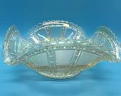 Iridescent Ruffled Vintage Carnival Glass Bowl