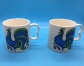 Groovy Blue Rooster - Vintage Mugs - 1970s Provincial Japan