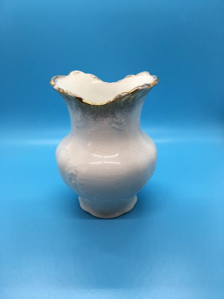 Crown Pottery Co. - Vintage Vase with Gold Trim