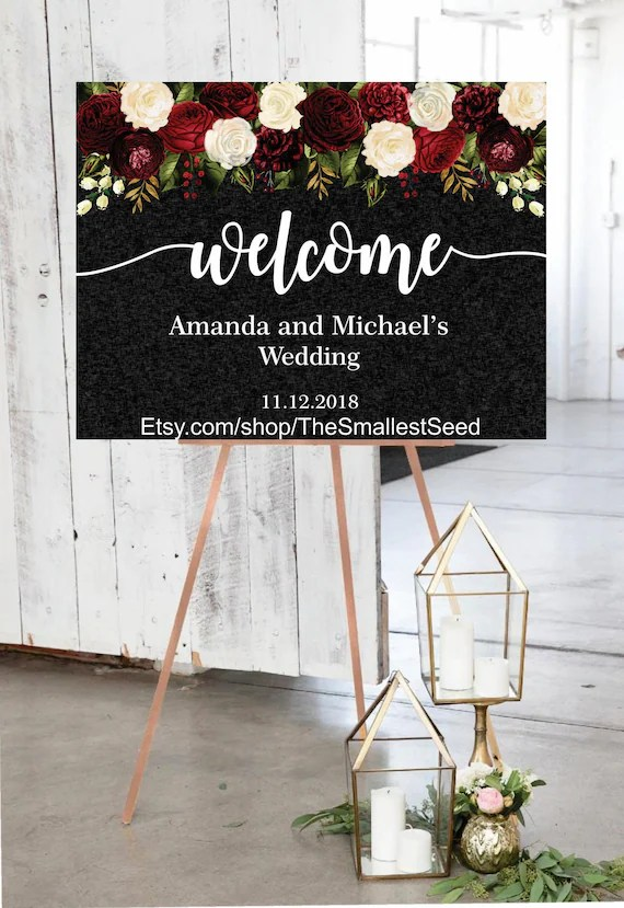 bridal shower posters printable wedding signs welcome sign personalized burgundy black white floral