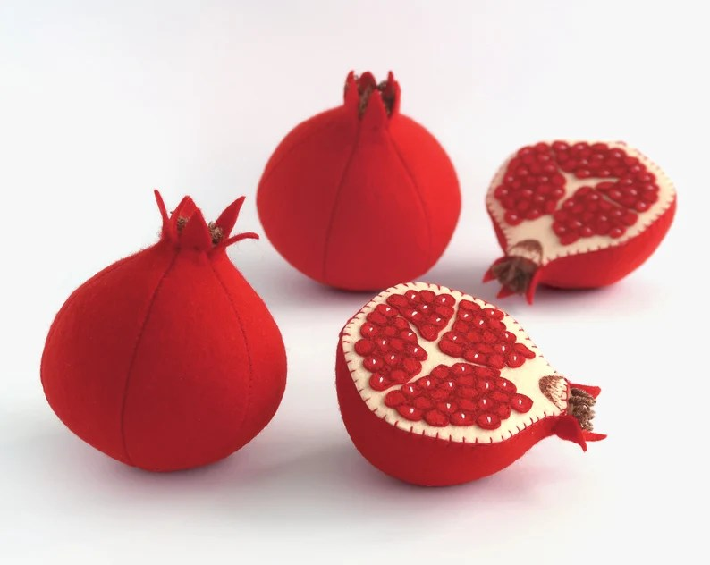 Toy fruits Pomegranate Baby gift kids felt toy image 0