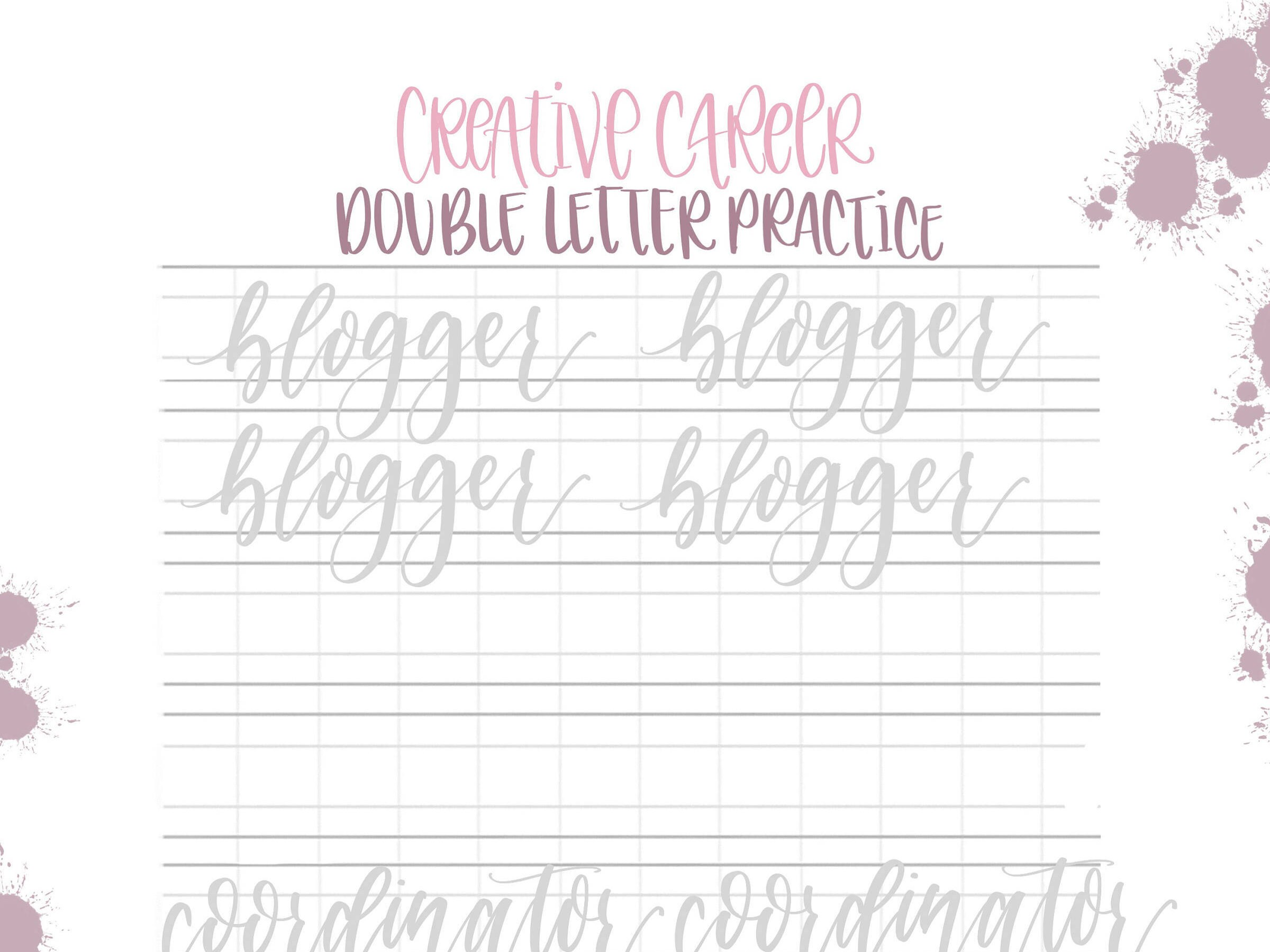 Hand Lettering Practice Sheets Double Letter Words May
