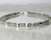 Labradorite gemstone bracelet, arm candy bracelet, friendship bracelet, stackable bracelet