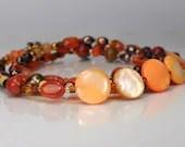 Gemstone wrap bracelet, boho bracelet,  spicy colors