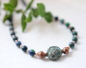 Gemstone necklace with az...