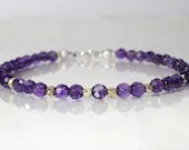 Amethyst gemstone bracelet, February birthstone, arm candy bracelet, stackable bracelet, friendship bracelet, yoga bracelet