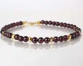 Garnet bracelet, arm candy bracelet, stackable bracelet, friendship bracelet,  January birthstone
