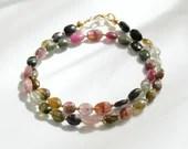 Tourmaline bracelet, wrap bracelet, gemstone bracelet, boho bracelet