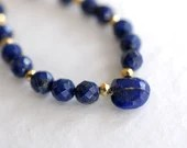 Lapis lazuli gemstone necklace with pyrite