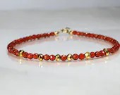 Carnelian and pyrite gemstone bracelet, yoga bracelet, friendship bracelet, stackable bracelet