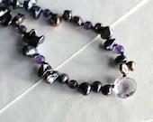 Freshwater pearl necklace with amethyst gemstone briolette, February birthstone