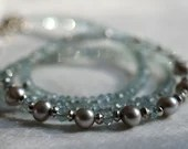 Gemstone necklace with aq...