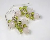 Gemstone earrings with rose quartz and peridot