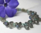 Labradorite and apatite gemstone necklace