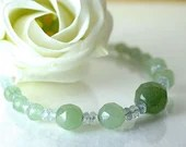 Aventurine and beryll gemstone necklace