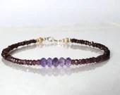 Ombre amethyst and garnet bracelet, yoga bracelet, friendship bracelet, January birthstone