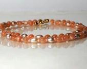 Peach moonstone bracelet, arm candy bracelet, wrap bracelet
