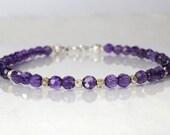 Amethyst gemstone bracelet, February birthstone, arm candy bracelet, stackable bracelet, friendship bracelet, yoga bracelet
