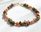 Unakite bracelet, arm candy bracelet, stackable bracelet, friendship bracelet