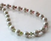 Freshwater pearl necklace with tourmaline gemstones