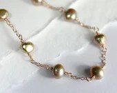 Freshwater pearl and rose gold necklace