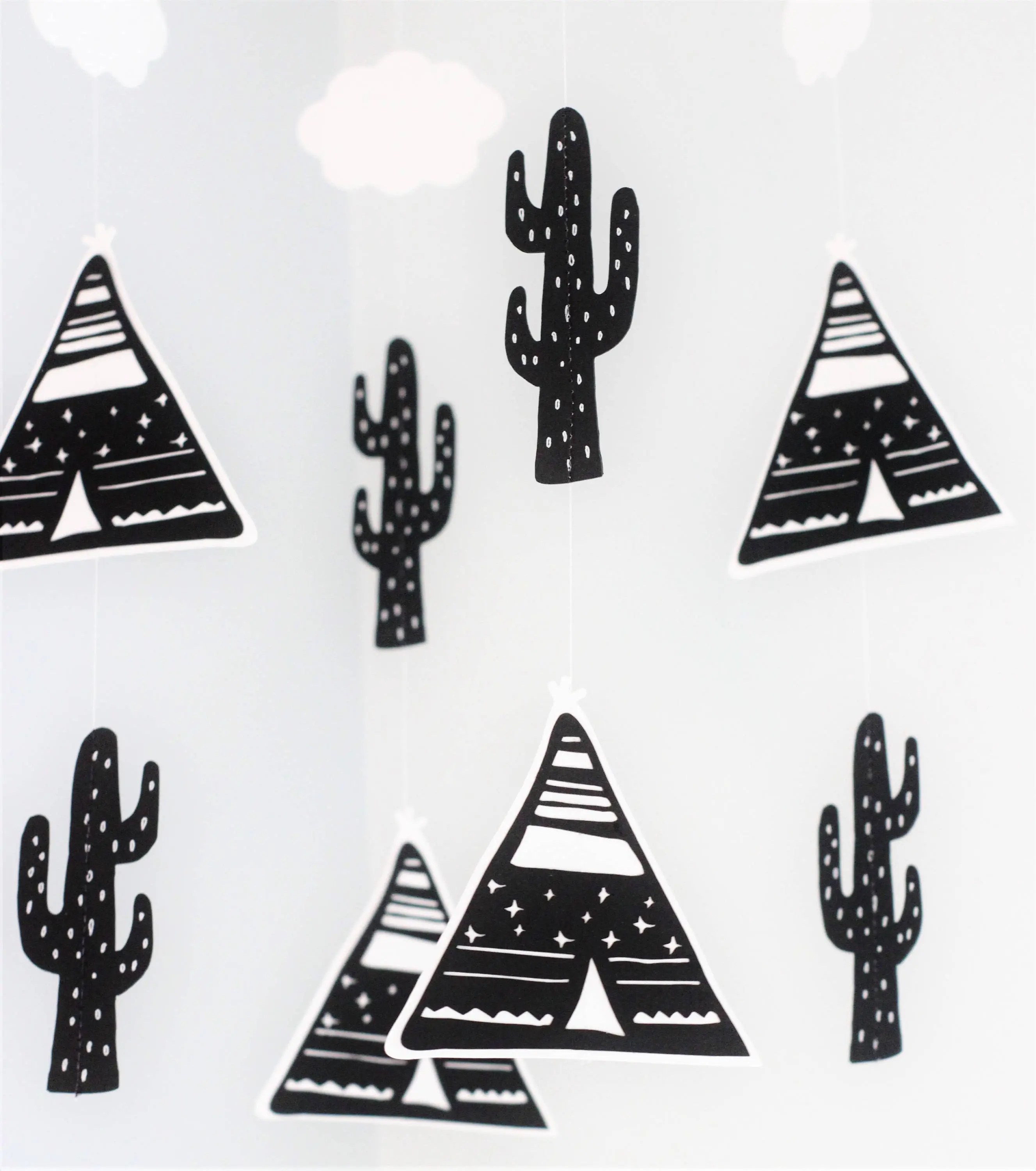 Personalised baby mobile teepee mobile tribal mobile cactus image 2