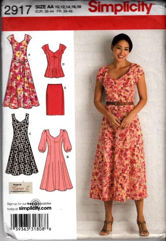 Modest Dress Patterns : modest, dress, patterns, UNCUT, Simplicity, 10-16, Modest, Dress, Flare