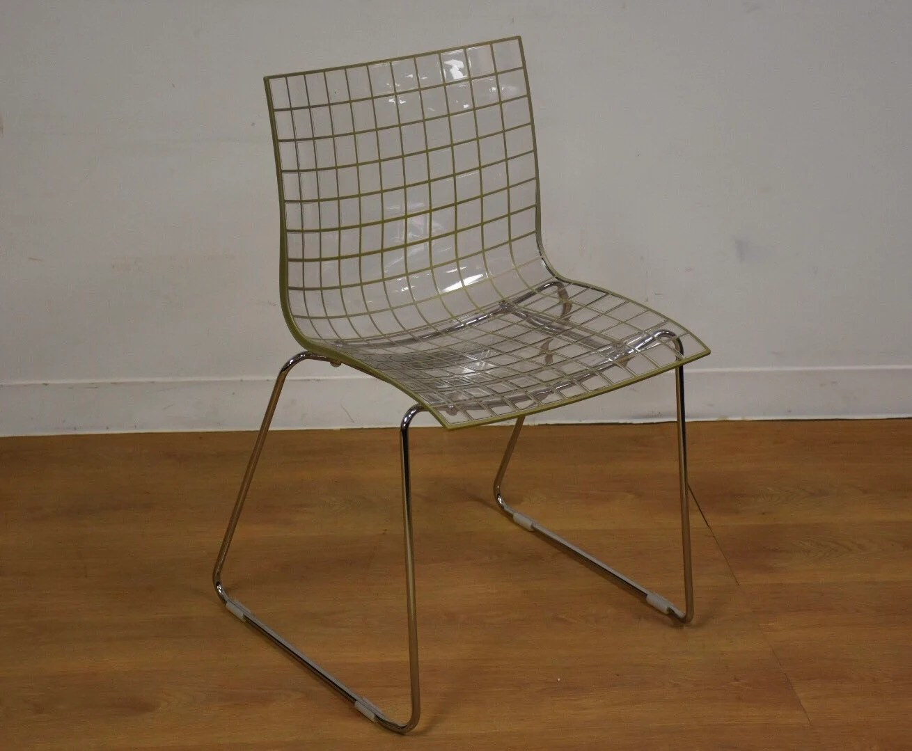 Lucite Chair X3 Stacking Chrome And Lucite Chair