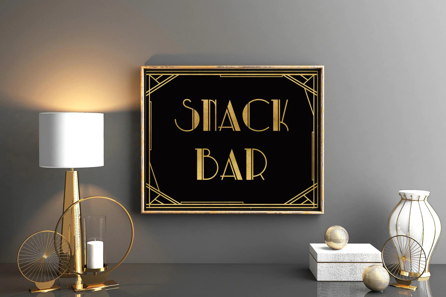 Deco Snack Great Gatsby Party Sign Snack Bar Art Deco Decor Sign Roaring Twenties Party Sign Snack Bar Prohibitions Party Great Gatsby Decorations