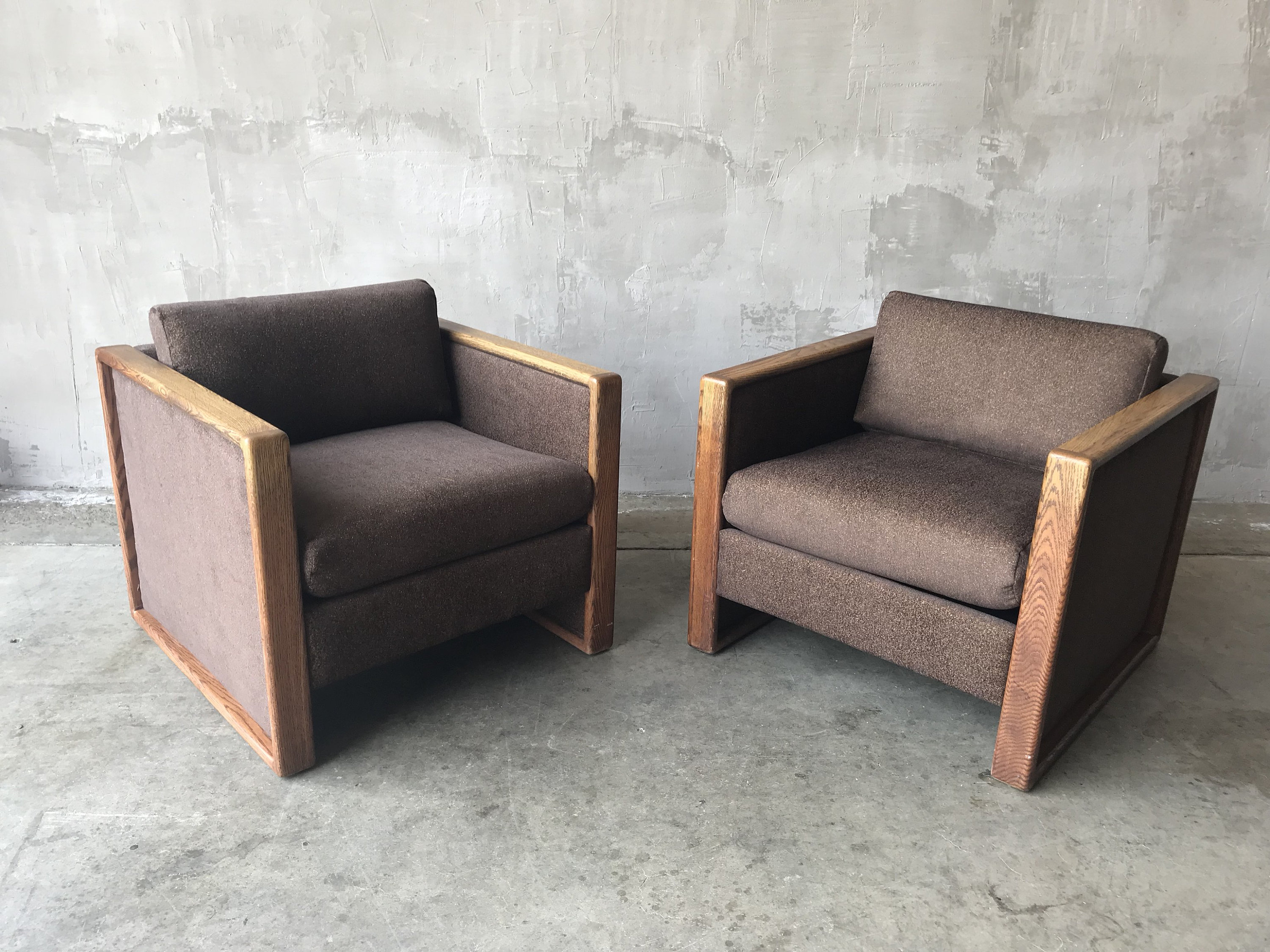 Cube Chairs Pair Of Cube Chairs With Wood Trim