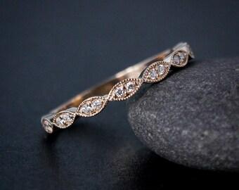 rose gold wedding band double diamond milgrain leaf wedding band boho bride