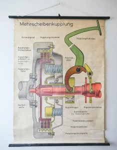Original scientific technical vintage german school wall chart motoring industrial multi plate clutch auto steering rare eductional also rh vintagewallcharts