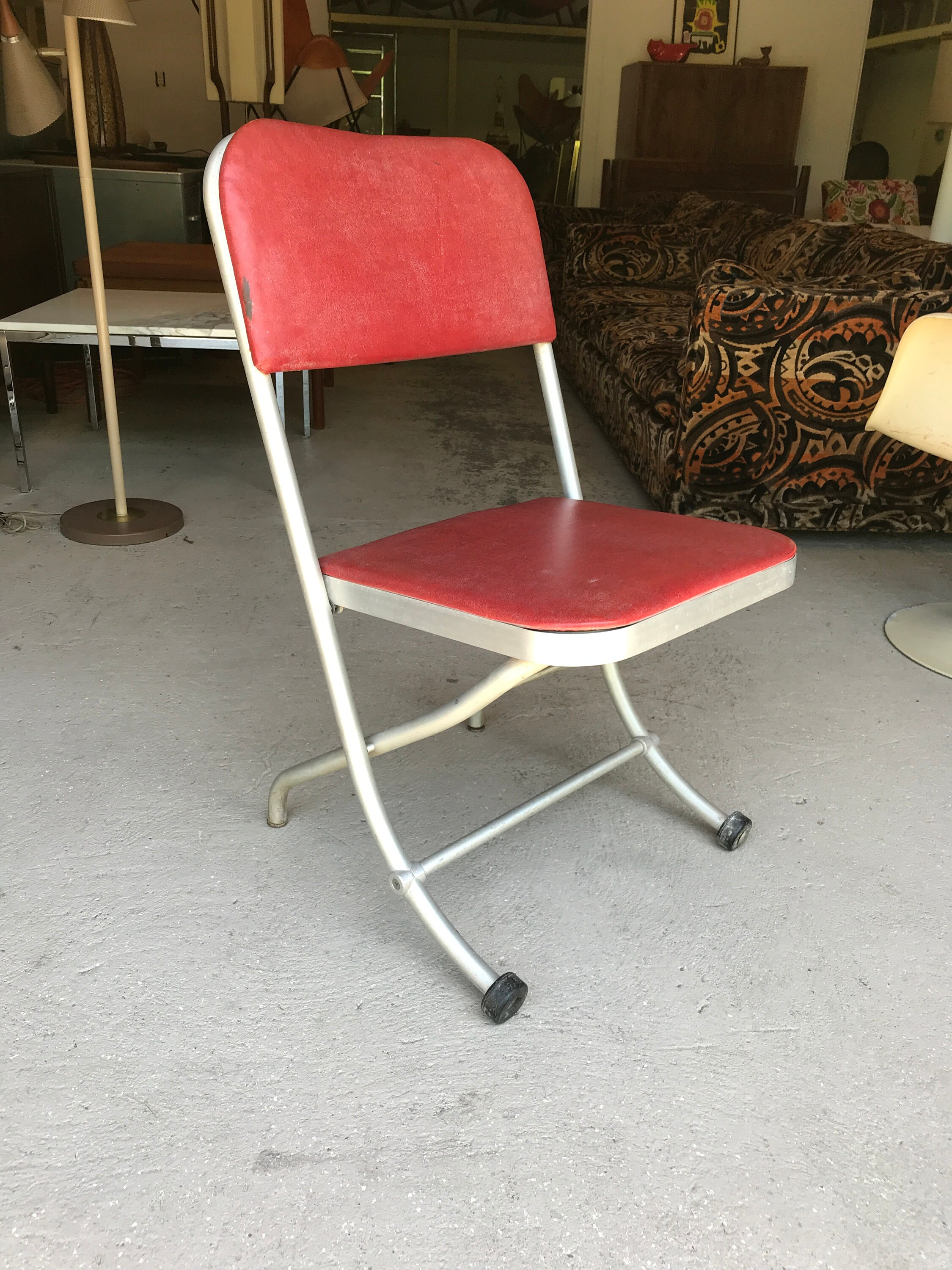 Aluminum Folding Chair Warren Mcarthur Folding Aluminum Chair Machine Age Mid Century