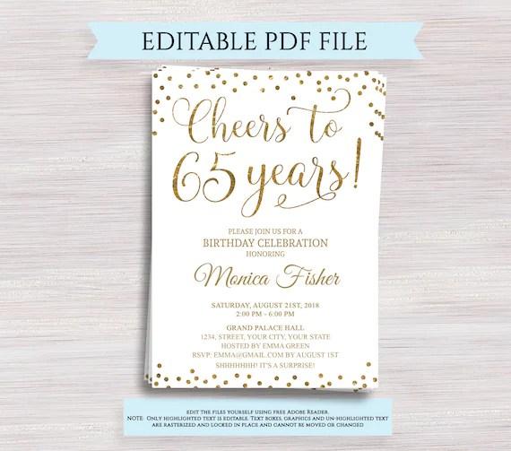editable 65th birthday party