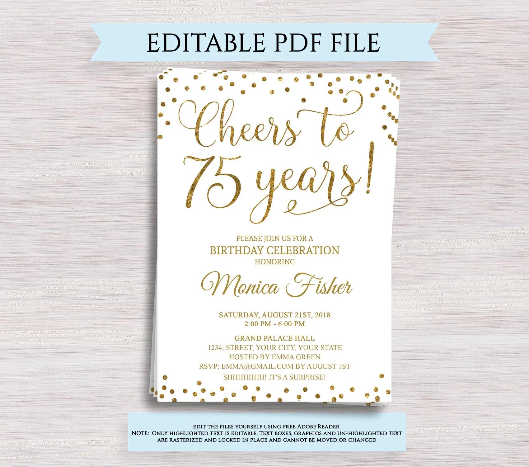 editable 75th birthday party invitation template cheers to 75 years 75th anniversary invitation gold birthday invite digital printable pdf