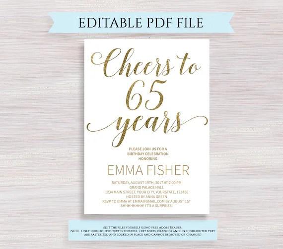 editable 65th birthday party invitation template cheers to 65 years 65th anniversary invitation gold birthday invite printable digital pdf