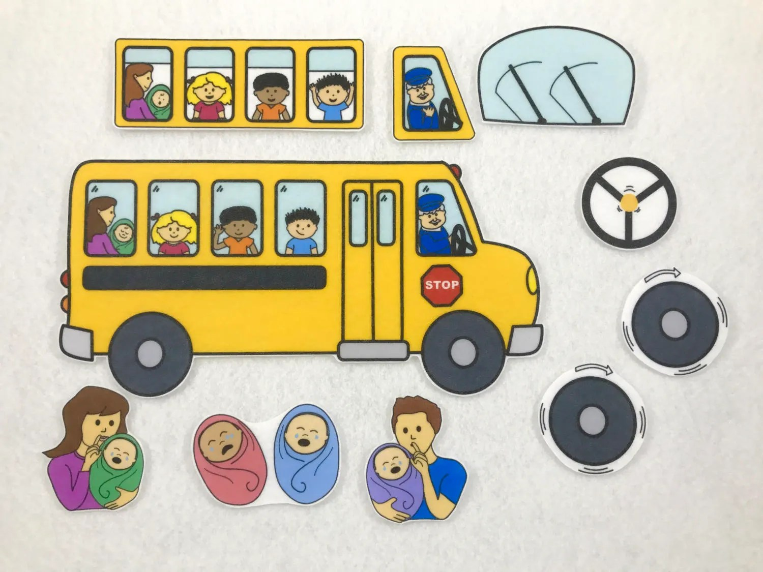 Wheels On The Bus Felt Story Flannel Board Quiet Play