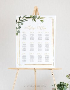 Printable seating chart template wedding sign instant download editable text greenery us  uk poster sizes diy sc also etsy rh
