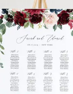Wedding seating chart template printable boho merlot  blush floral sign editable text instant download sc also etsy rh