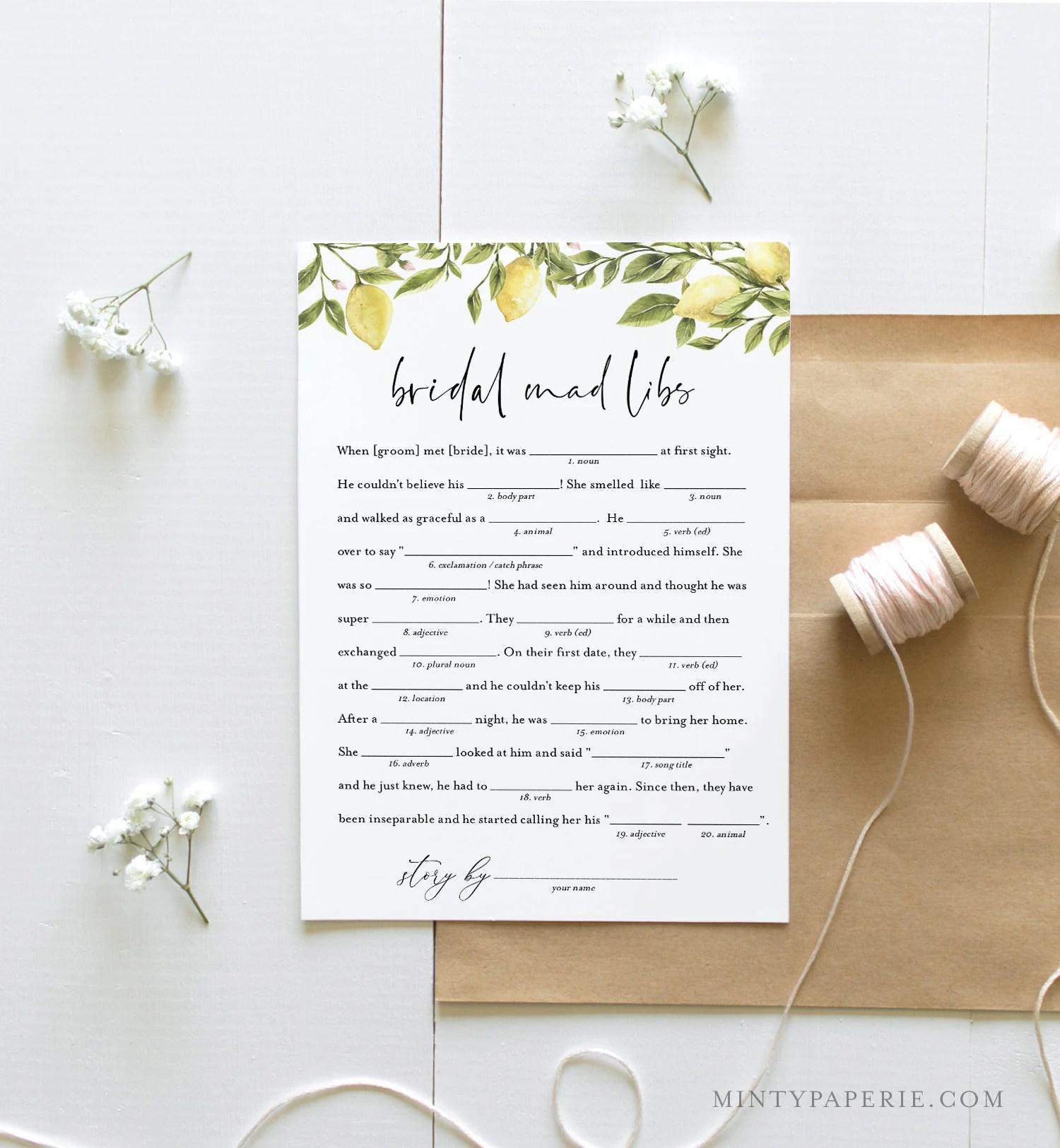 Mad Libs Bridal Shower Game Printable Summer Bridal