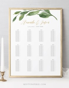 Wedding seating chart template alphabetic order printable greenery  gold sign editable text instant download sc also rh mintypaperie