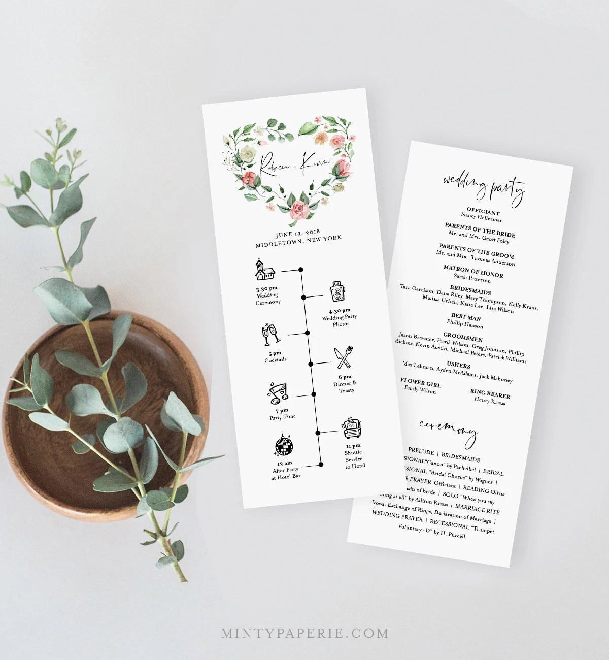 Wedding Program Amp Timeline Template Printable Order Of