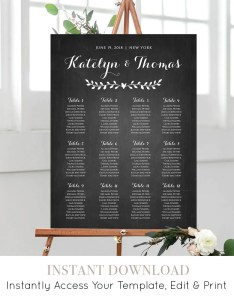 Wedding seating chart template editable diy rustic vine chalkboard printable plan poster instant download nc sc also rh mintypaperie